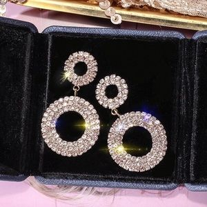 2/$20! Gold Pave Crystal Circle Stud Earrings